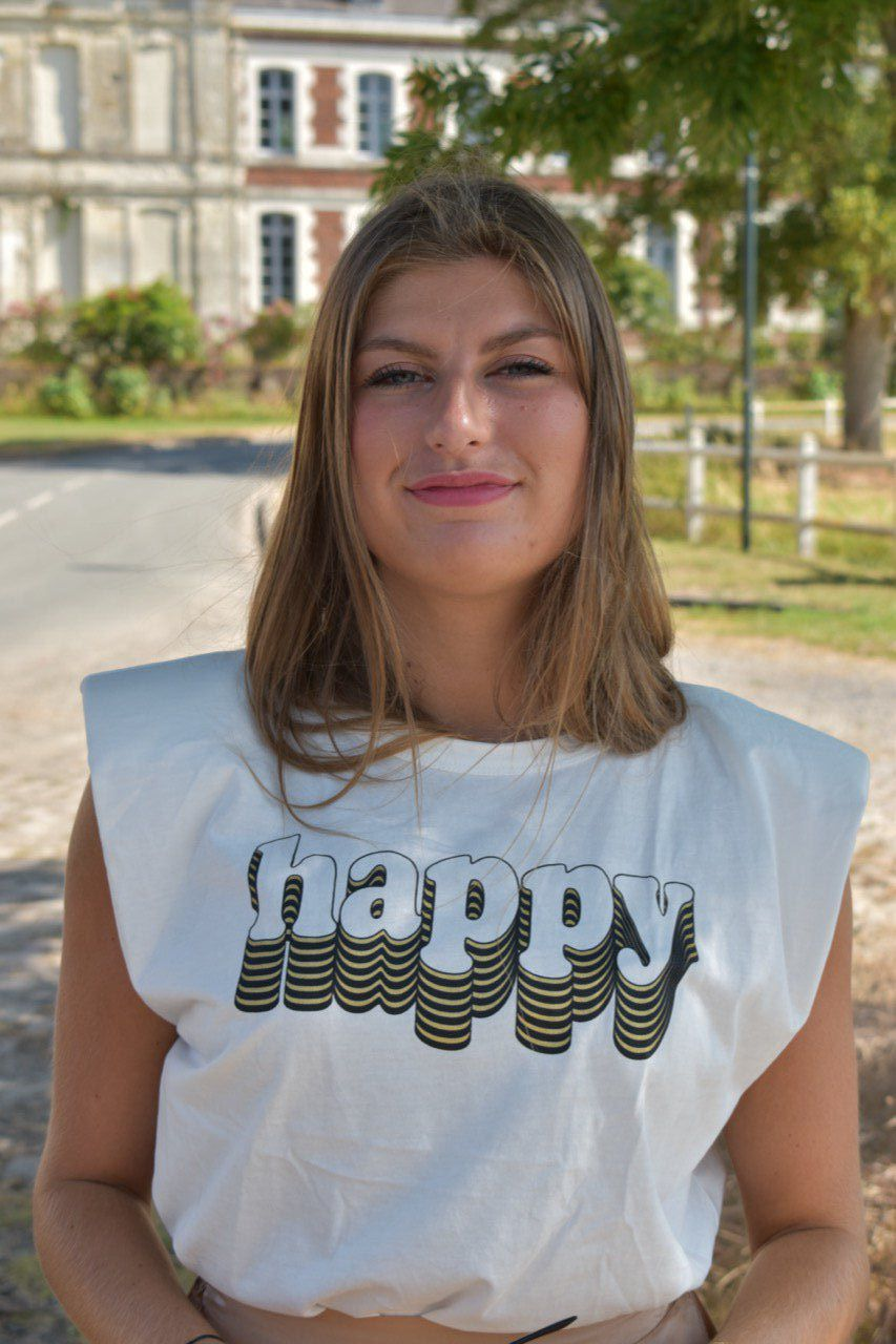 "T-SHIRT ""HAPPY"" ÉPAULETTES GOLD"
