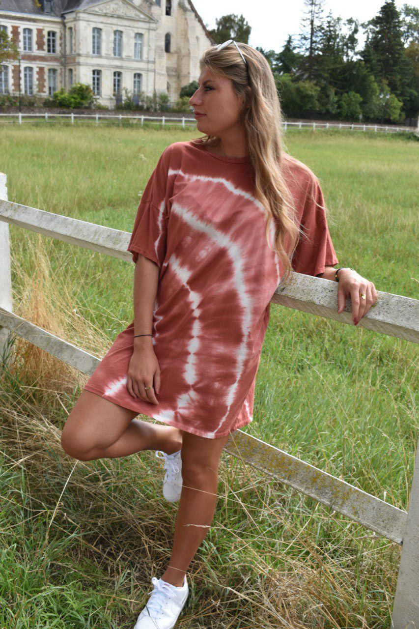 ROBE GAËLLE TIE AND DYE TERRACOTTA