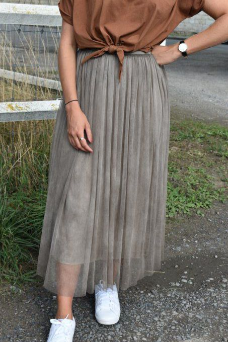 JUPE TULLE TAUPE LONGUE