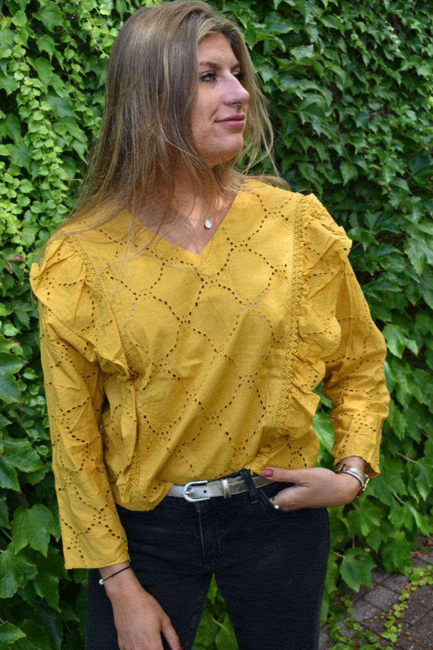 BLOUSE CAZA BRODERIE ANGLAISE MOUTARDE