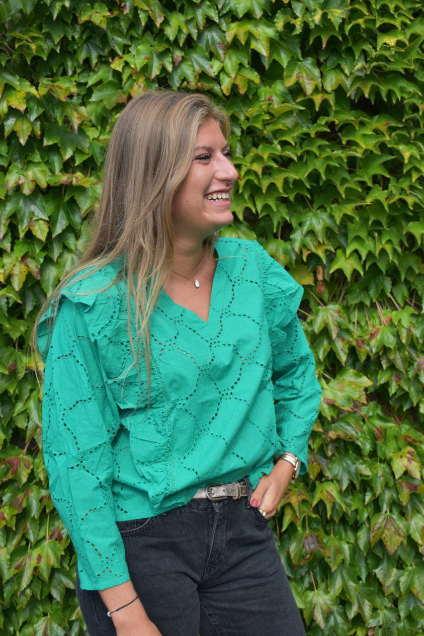 BLOUSE CAZA BRODERIE ANGLAISE VERT